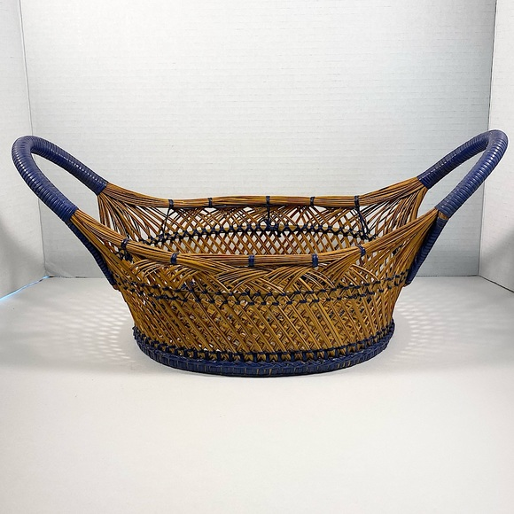 Vintage wicker and blue basket with handles